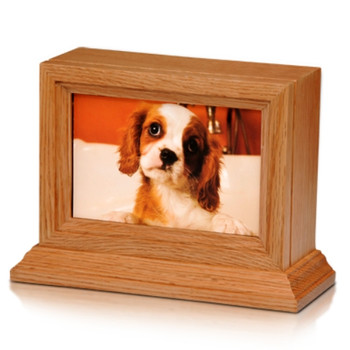Oak Wood 4″ x 6″ Photo Frame Pet Urn with Base – 45 cu. in.
