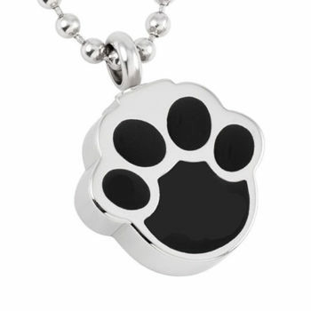 Stainless Steel Cremation Urn Pendant with Chain – Black Paw Print