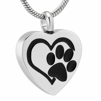 Stainless Steel Cremation Urn Pendant with Chain – Heart with Paw Print