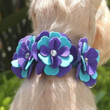 Violet Flowers Dog Collar & optional Leash