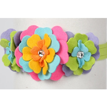 Fantasy Flower Dog Collar & optional Leash - Kiwi
