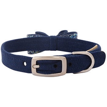 Indigo Blue Crystal Stellar Big Bow Collar