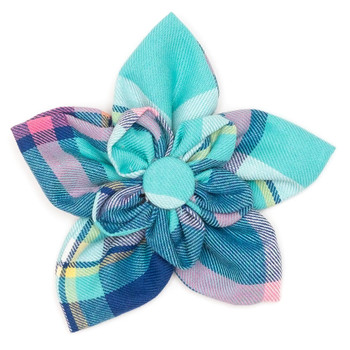 Aqua Navy Plaid Pet Dog Collar Flower