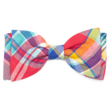 Coral Multi Plaid Pet Dog Bow Tie