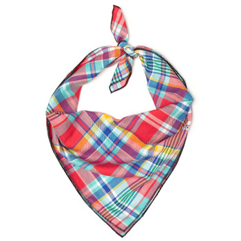 Coral Multi Plaid Dog Tie Bandana