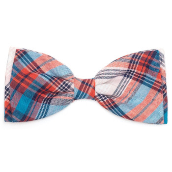 Cornflower Blue & Red Plaid Pet Dog Bow Tie