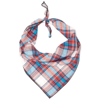 Cornflower Blue & Red Plaid Dog Tie Bandana