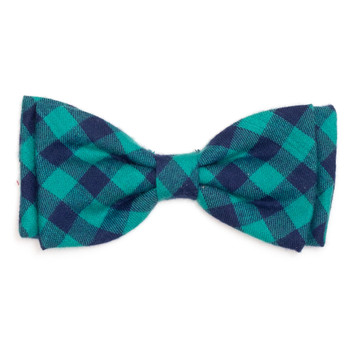 Green & Navy Buffalo Check Pet Dog Bow Tie