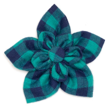 Green & Navy Buffalo Check Pet Dog Collar Flower