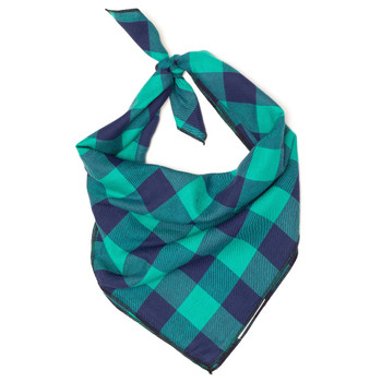 Green & Navy Buffalo Check Dog Tie Bandana