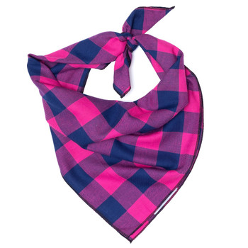Pink & Navy Buffalo Check Dog Tie Bandana