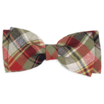Olive Multi Plaid Pet Dog Bow Tie