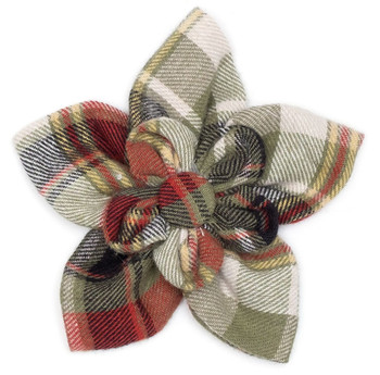 Olive Multi Plaid Pet Dog Collar Flower
