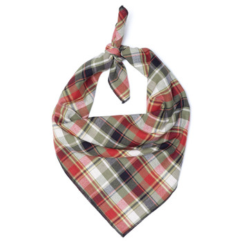 Olive Multi Plaid Dog Tie Bandana