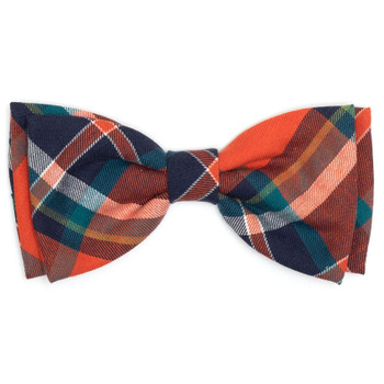 Orange & Navy Plaid Pet Dog Bow Tie