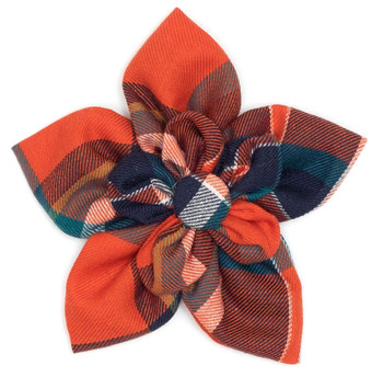 Orange & Navy Plaid Pet Dog Collar Flower
