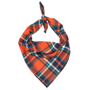 Orange & Navy Plaid Dog Tie Bandana