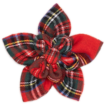 Red Plaid III Pet Dog Collar Flower
