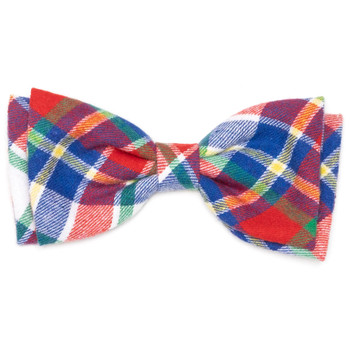 Red, Hunter & Blue Plaid Pet Dog Bow Tie