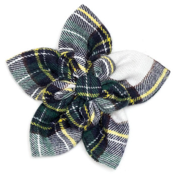 Stewart Tartan Green Pet Dog Collar Flower