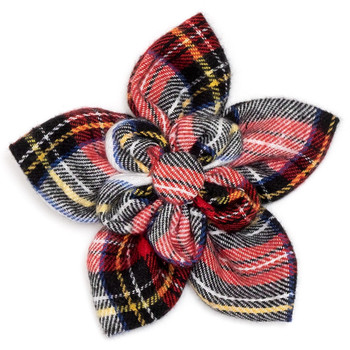 Stewart Tartan Red Pet Dog Collar Flower