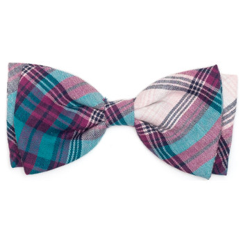 Teal & Purple Plaid Pet Dog Bow Tie