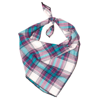 Teal & Purple Plaid Dog Tie Bandana