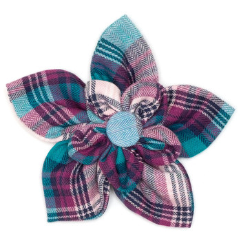 Teal & Purple Plaid Pet Dog Collar Flower