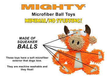 Mighty Microfiber Dog Toy Ball - Bull - Small - Large Pets