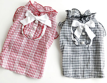 Puppy Angel Lovely Check Dog Blouse - Red