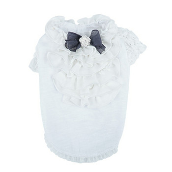 Puppy Angel Petite Frill Dog Blouse - White