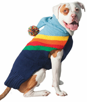 Rainbow Hoodie Knit Dog Sweaters