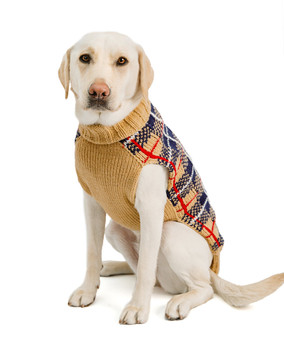 Tan Tartan Plaid Hand Knit Dog Sweaters