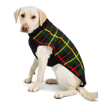 Navy Tartan Plaid Hand Knit Dog Sweaters
