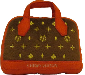 Chewy Vuiton Posh Purse Dog Toy ( Red Trim )