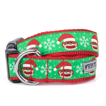 Sock Monkey Santa Pet Dog Collar