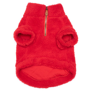 Red Solid Fleece Zip Dog Pullover
