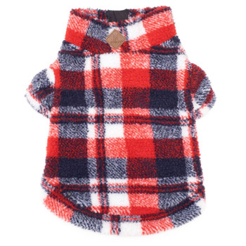 Red/Navy Plaid Sherpa Zip Dog Pullover