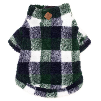 Hunter/Navy Plaid Sherpa Zip Dog Pullover