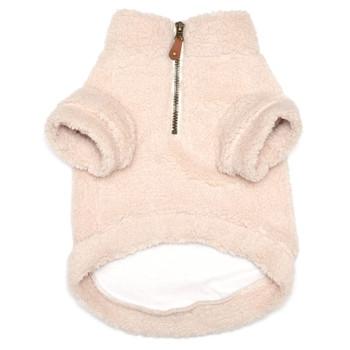 Cream Solid Fleece Zip Dog Pullover