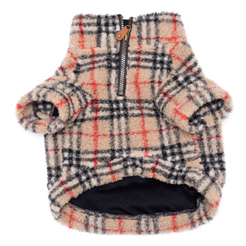 Tan Plaid Sherpa Zip Dog Pullover