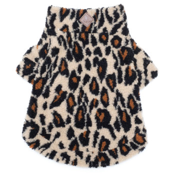 Leopard Sherpa Zip Dog Pullover
