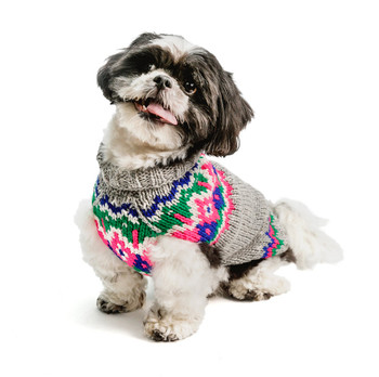 Light Grey Fairisle Wool Hand Knit Dog Sweaters