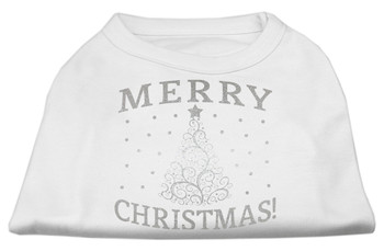 Silver Christmas Tree Screen Print Dog Shirt - More Colors