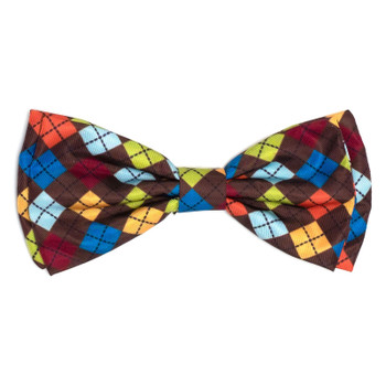 Autumn Argyle Pet Dog Bow Tie