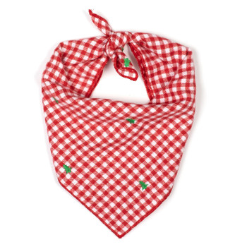 Christmas Check Trees Dog Tie Bandana