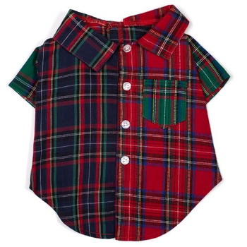 Colorblock Tartan Pet Dog Shirt - Small - Big Dog