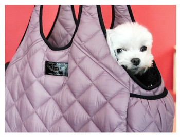 Puppy Angel Luxury Quilted Shoulder Bag (long shoulder) - Mauve Pink