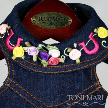 Cowgirl Embroidered Denim Dog Vest - Size Small