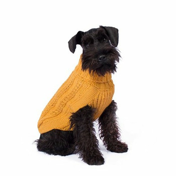 Alpaca Dog Sweater - Chunky Cable Mustard